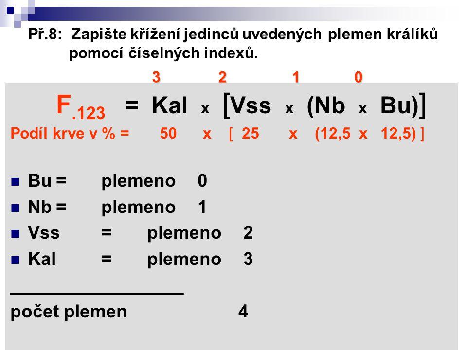 F.123 = Kal x [Vss x (Nb x Bu)] Bu = plemeno 0 Nb = plemeno 1